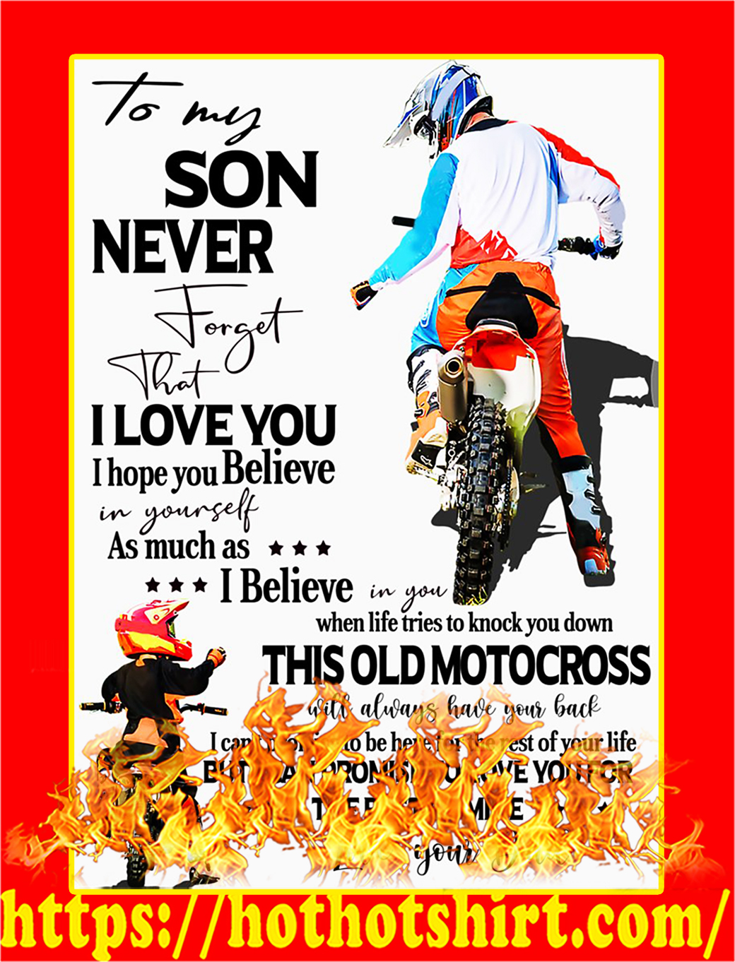To My Son Your Dad Motocross Poster - A3