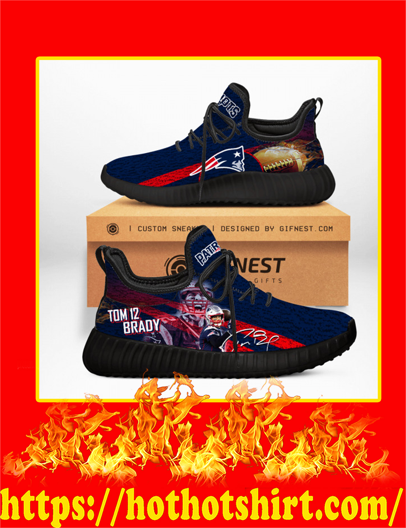 Tom Brady Patriots Yeezy Sneaker - Black