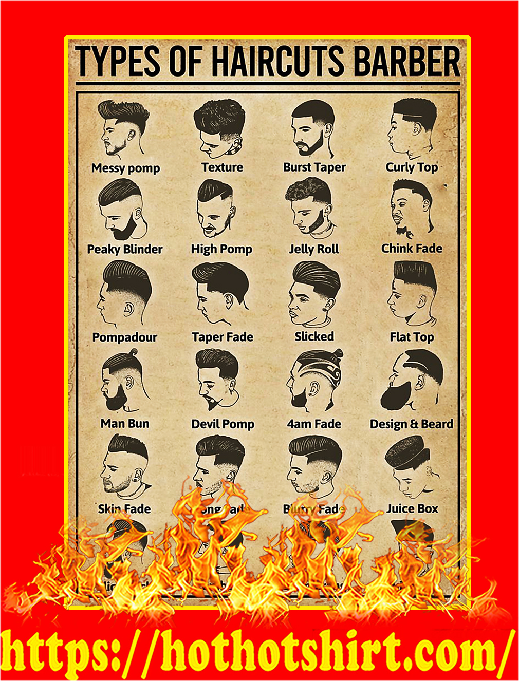 Types Of Haircuts Barber Poster - A3