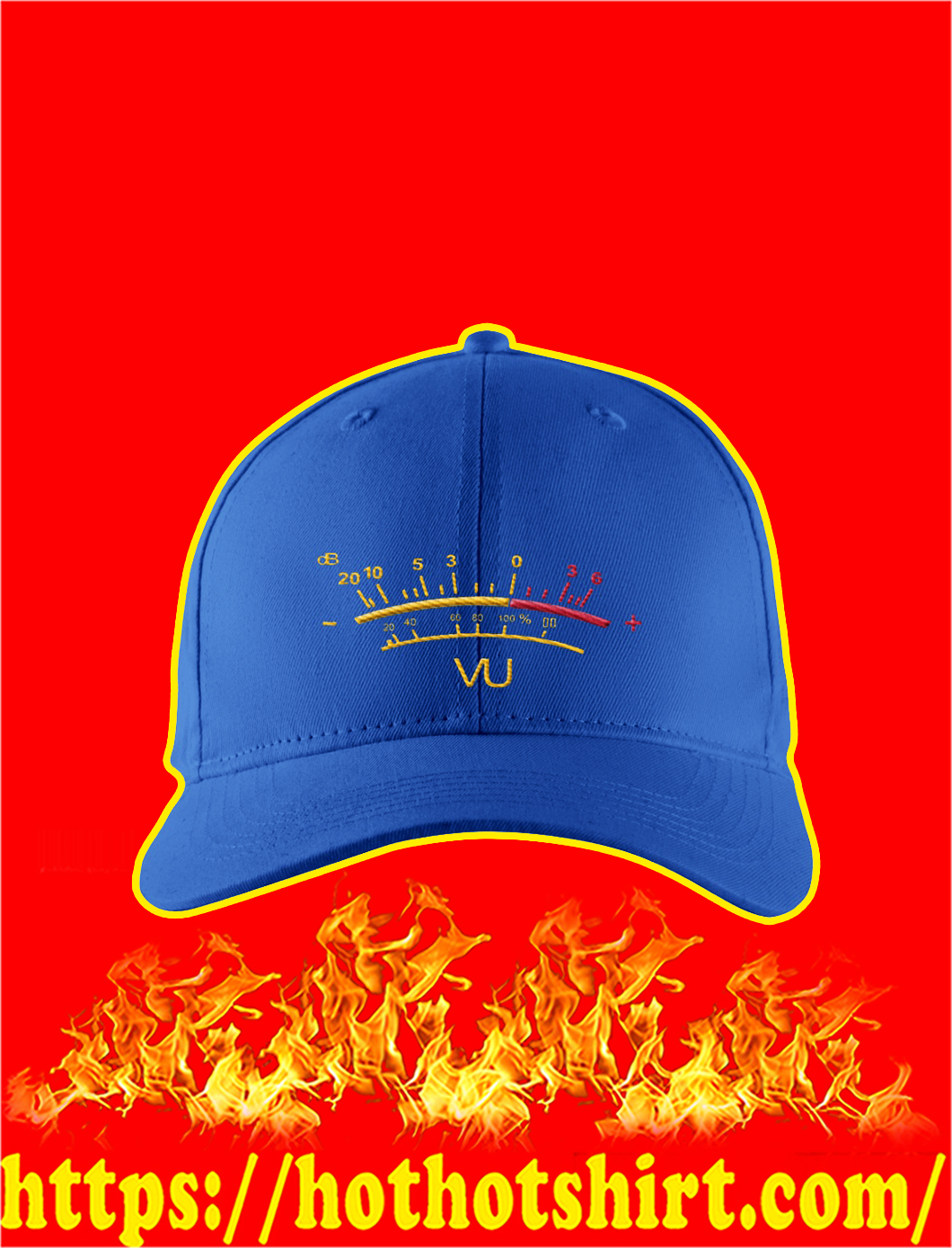 VU Meter Embroidered Hat- blue
