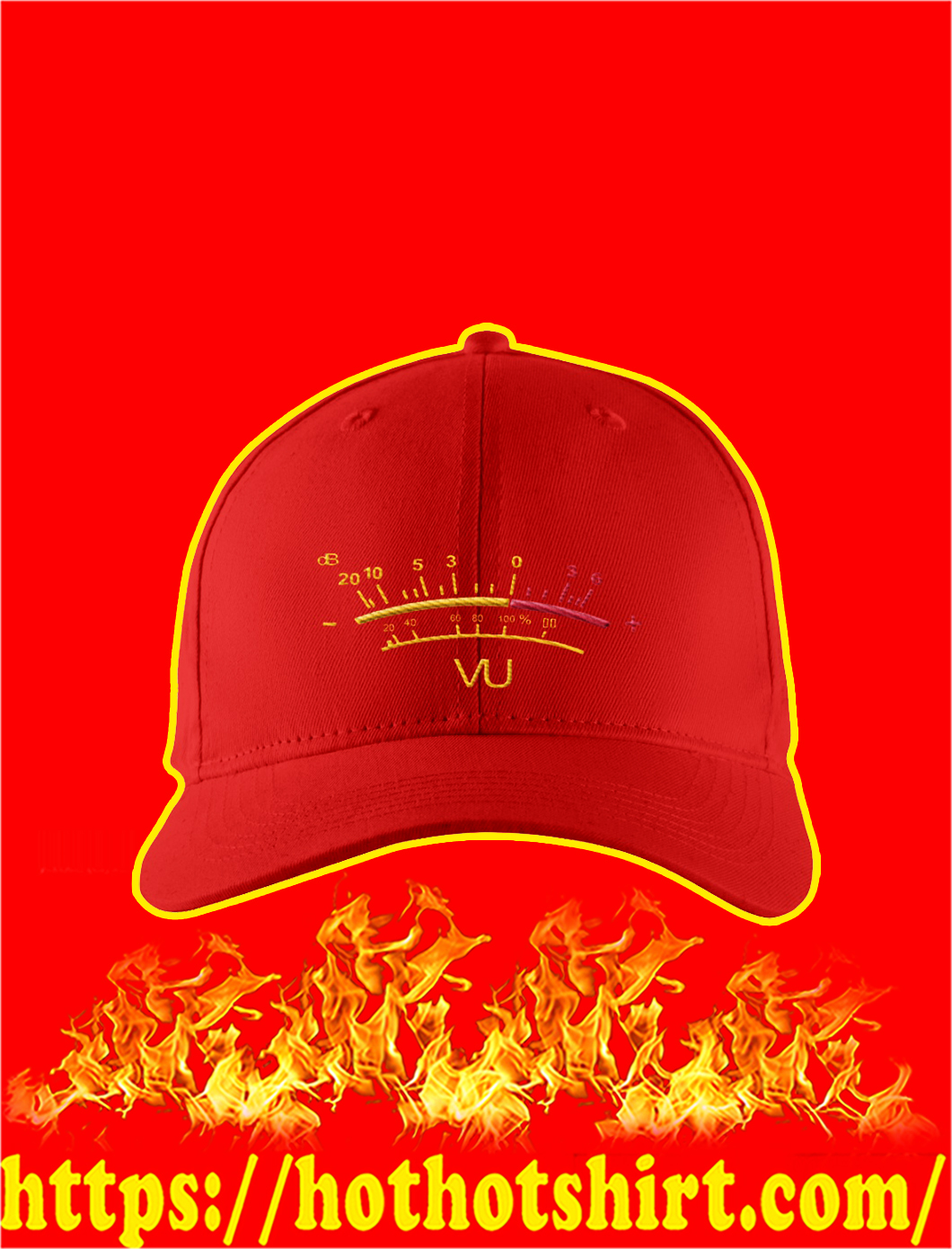VU Meter Embroidered Hat- red
