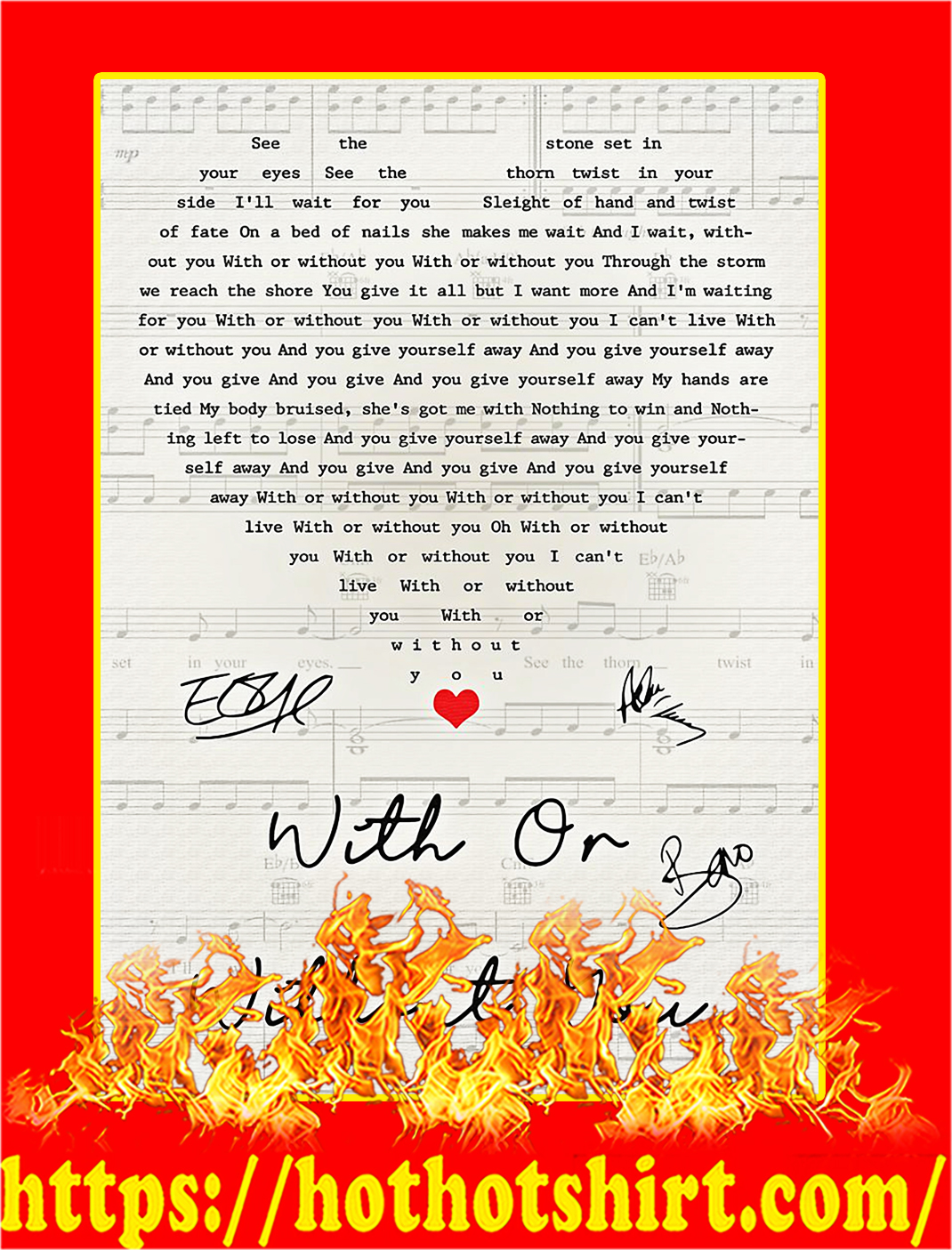 With Or Without You Signature Poster