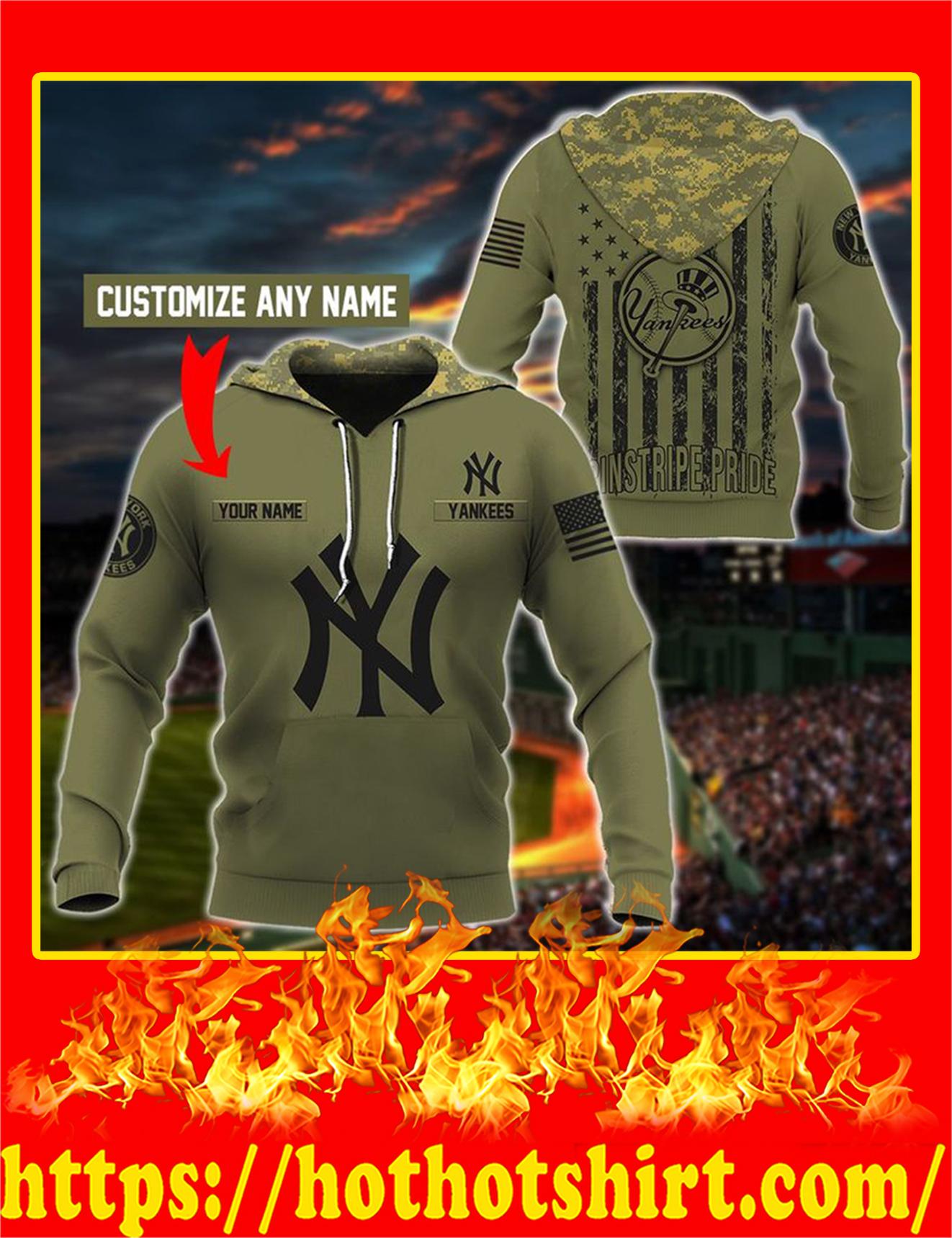 Yankees Customize Custom Name 3D Hoodie - 2XL