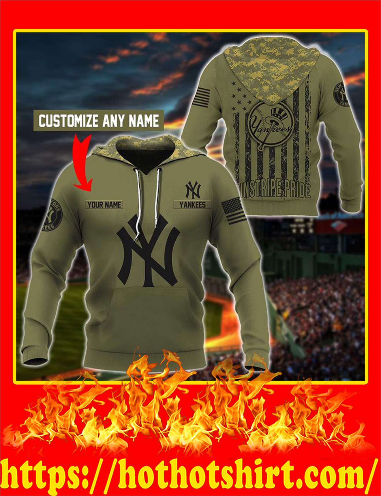 Yankees Customize Custom Name 3D Hoodie - XL