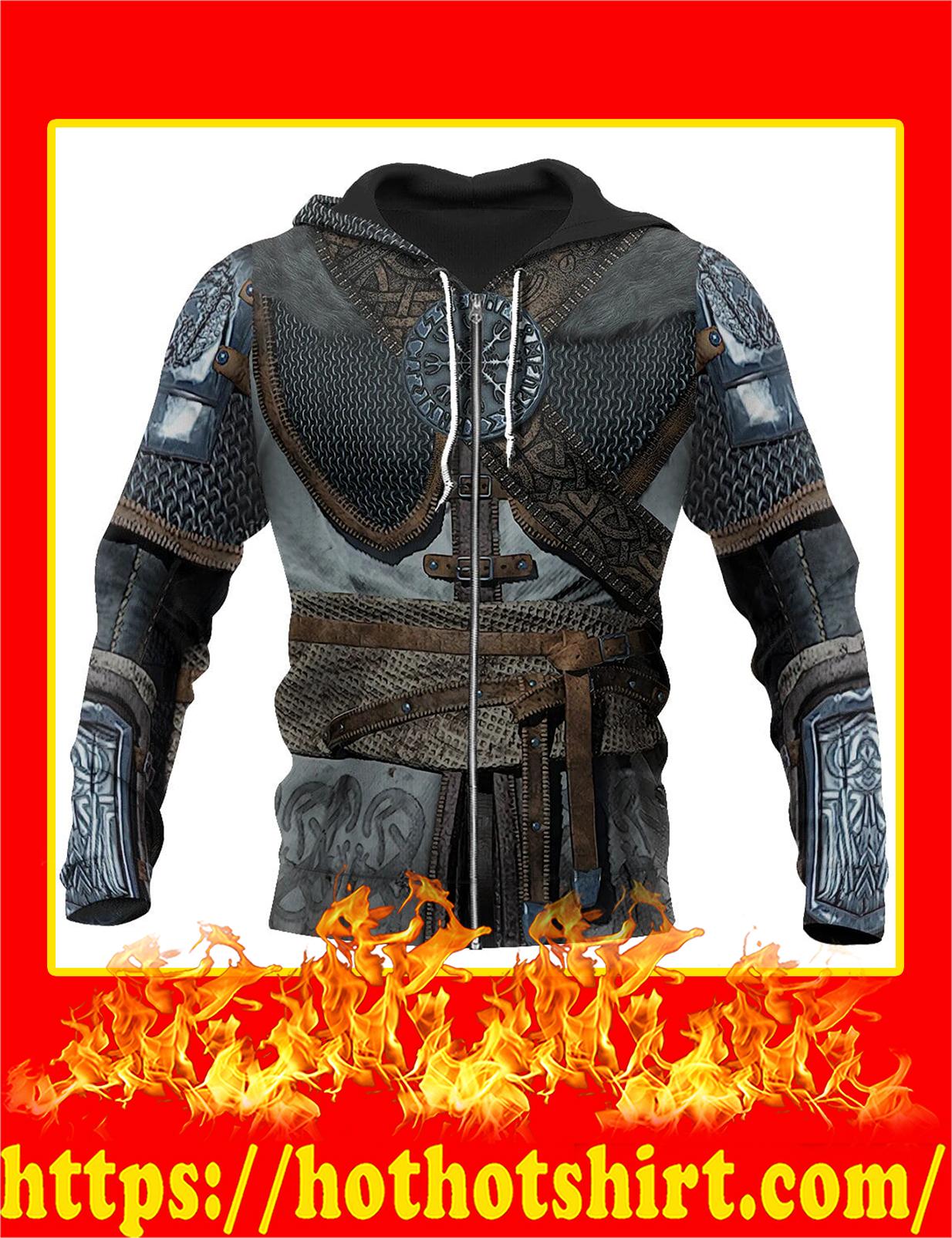 3D All Over Printed Vikings Armor Zip Hoodie