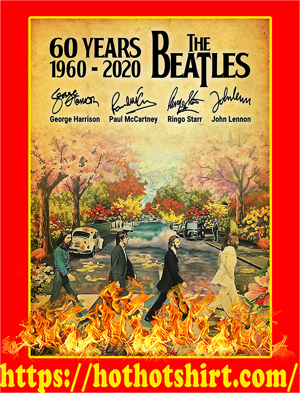 60 Years The Beatles 1960 2020 Signature Poster - A4