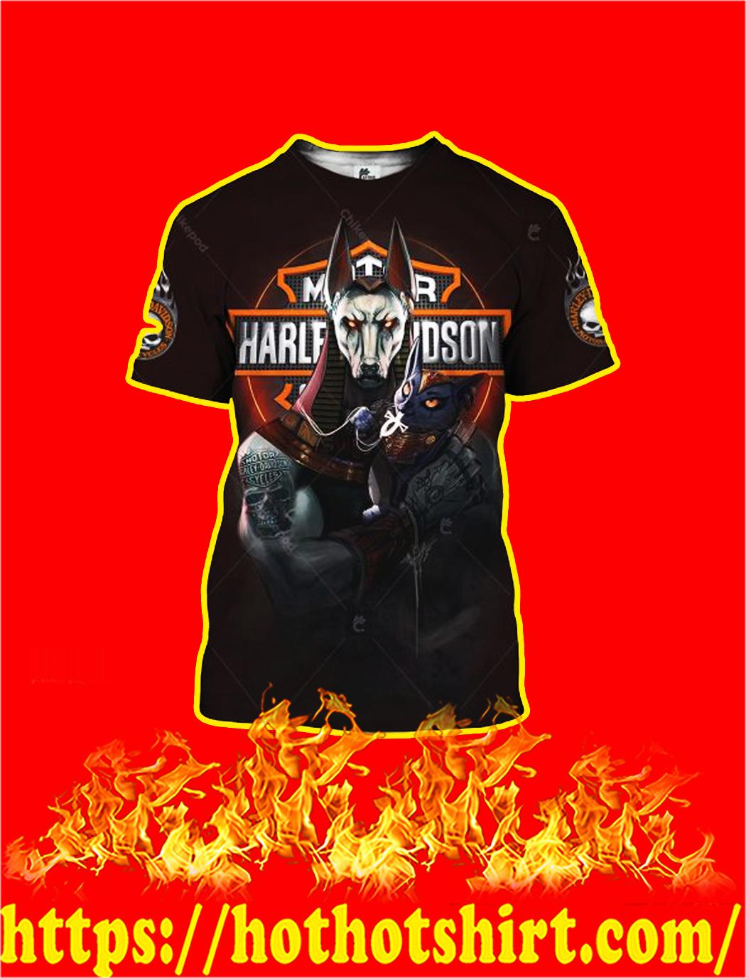 Anubis And Bastet Harley Davidson 3D All Over Printed shirt