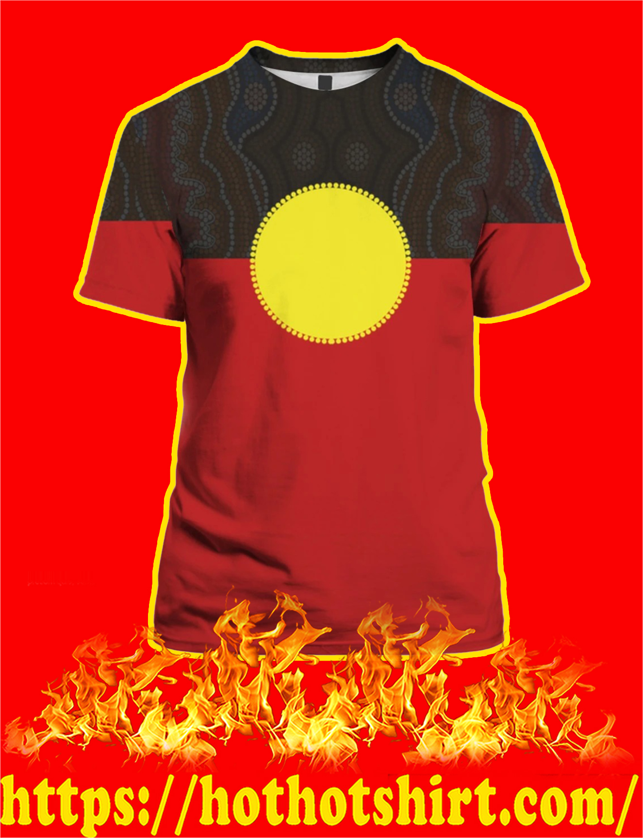 Australia Aboriginal Flag 3D All Over Printed T-Shirt