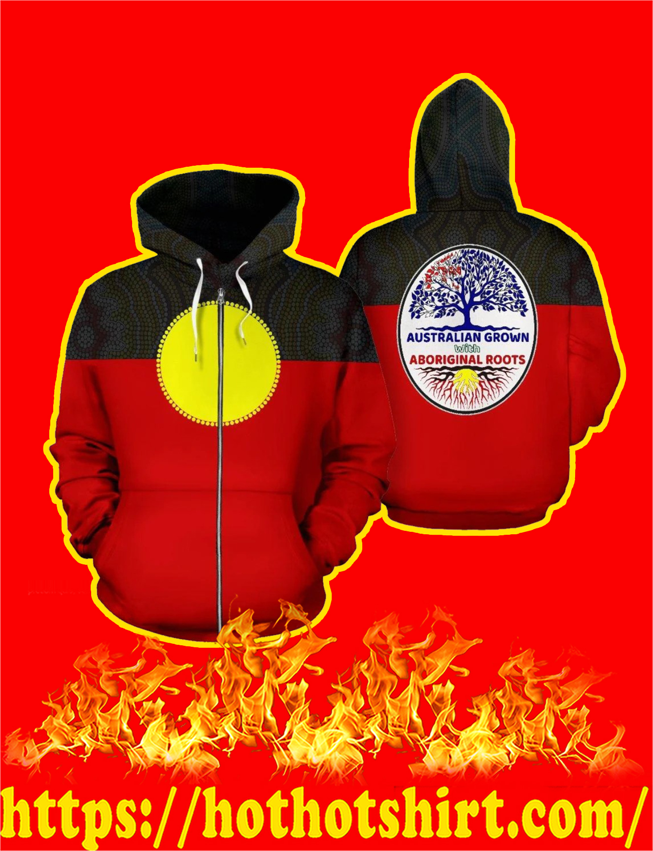 Australia Aboriginal Flag 3D All Over Printed Zip Hoodie