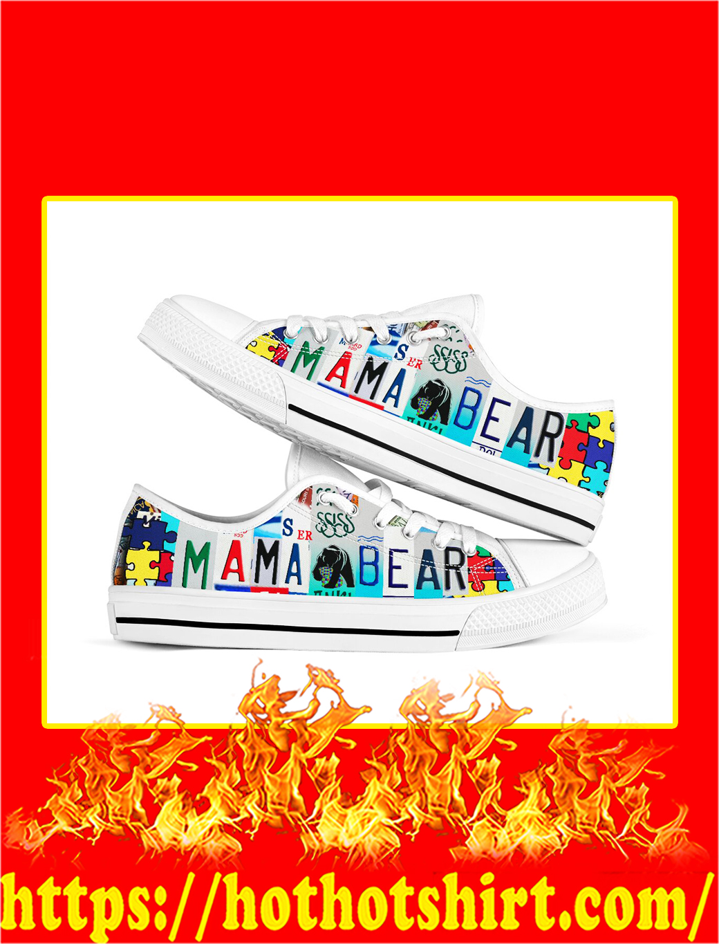 Autism Mama Bear Low Top Shoes- picture 1