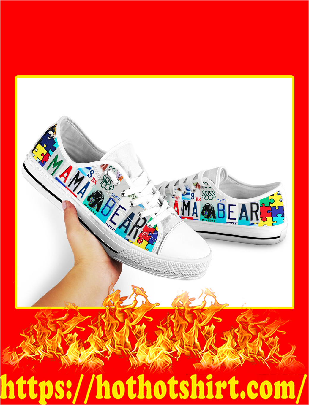 Autism Mama Bear Low Top Shoes- picture 2