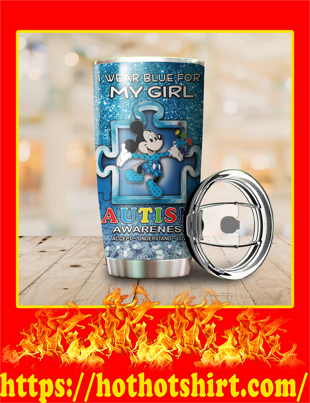 Autism Mickey I Wear Blue For My Girl Stainless Steel Tumbler - Pic 2
