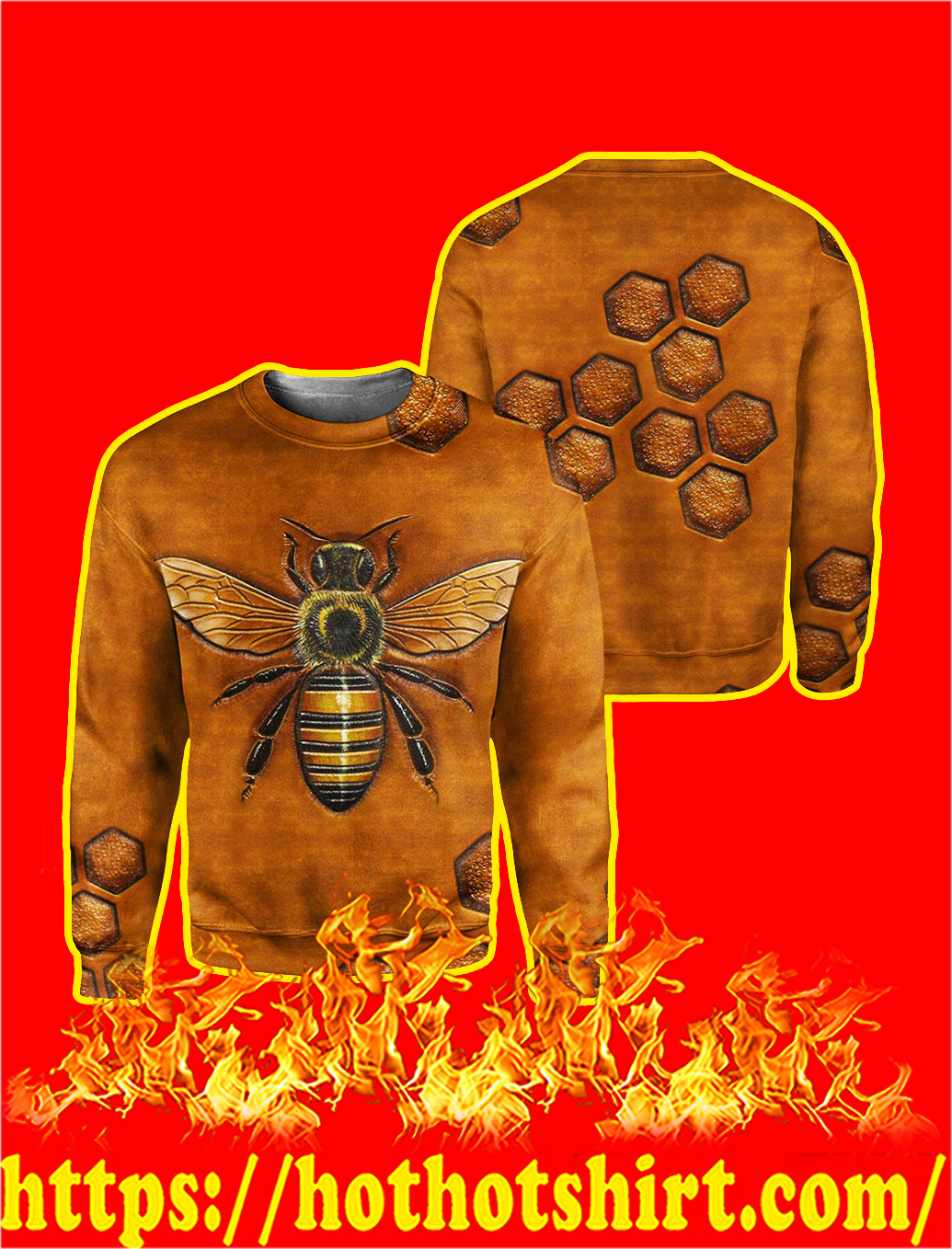 Bee 3D All Over Printed Long Sleeve Tee