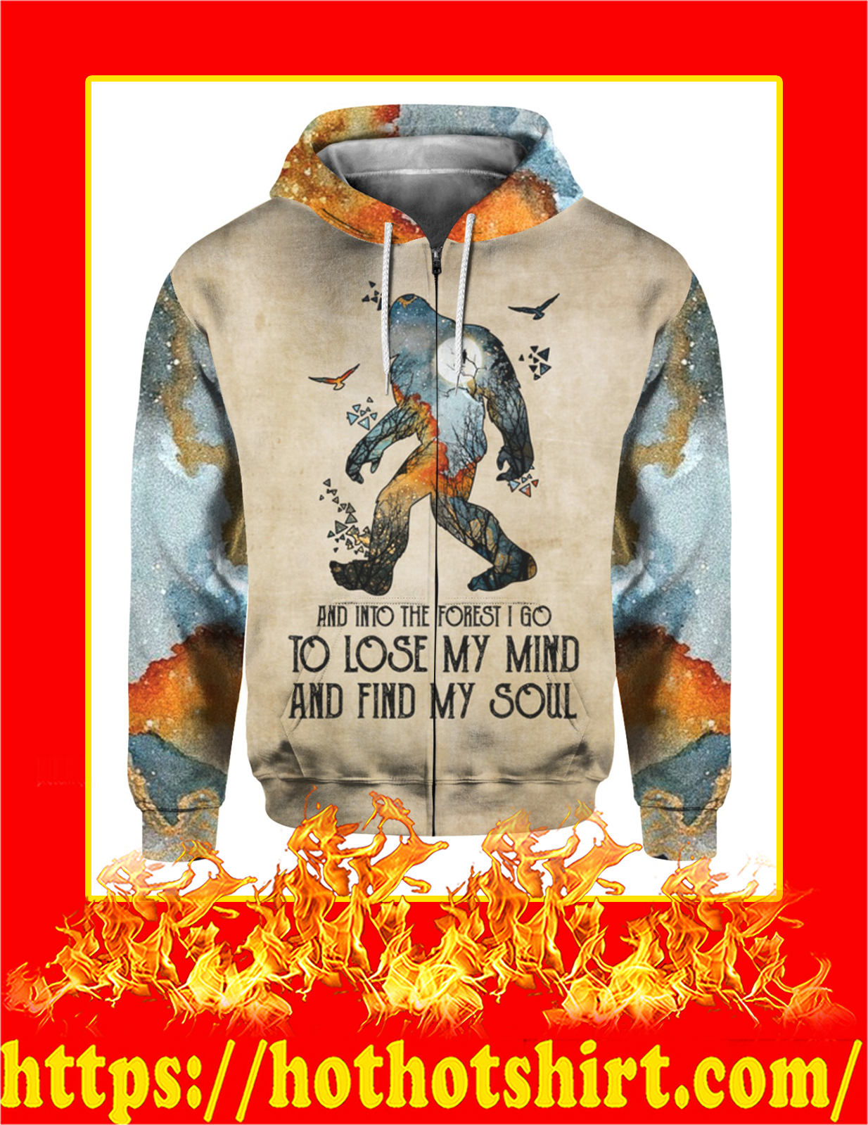 Bigfoot And Into The Forest I Go 3d Zip Hoodie