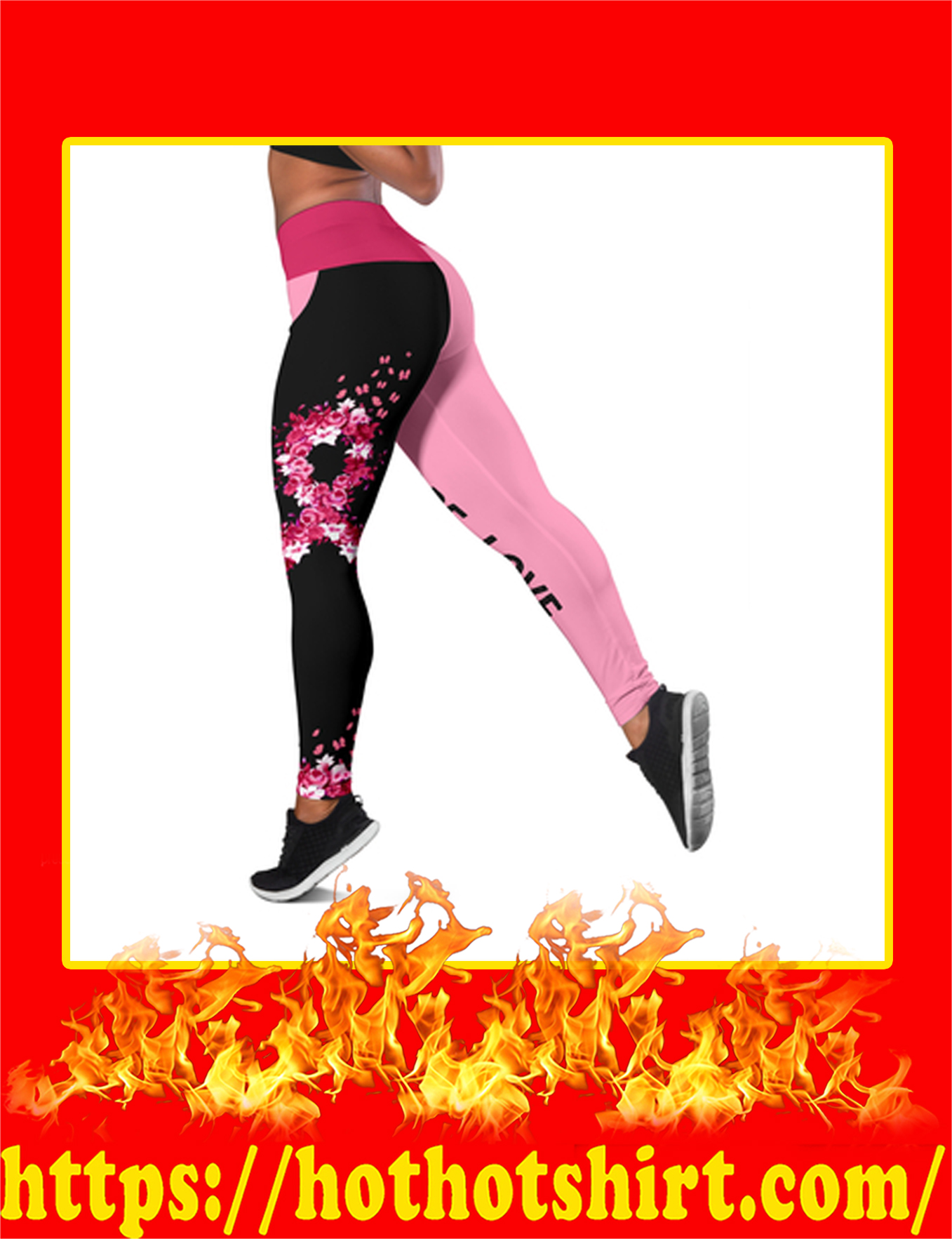 Breast Cancer Fight Hope Love 3D Legging-pic 2