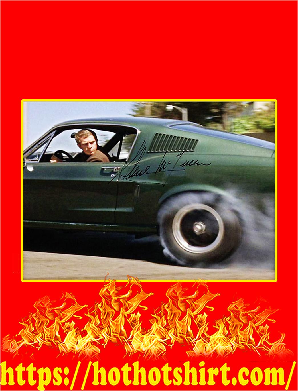 Bullitt Ford Mustang 390 GT Steve McQueen Signature Poster - A3