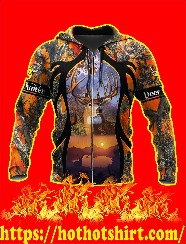 Camo Deer Hunter 3d zip hoodie