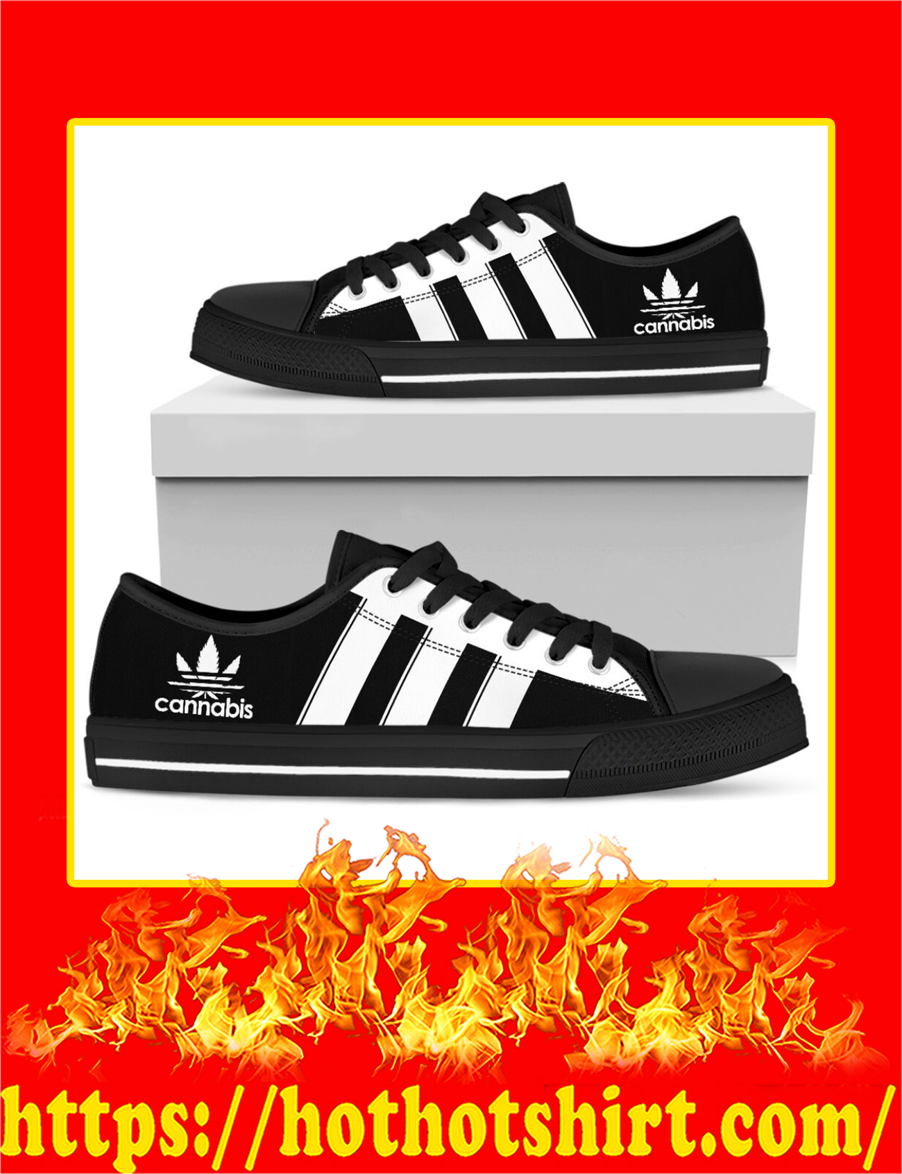 Cannabis Adidas Logo Low Top Shoes - Pic 1