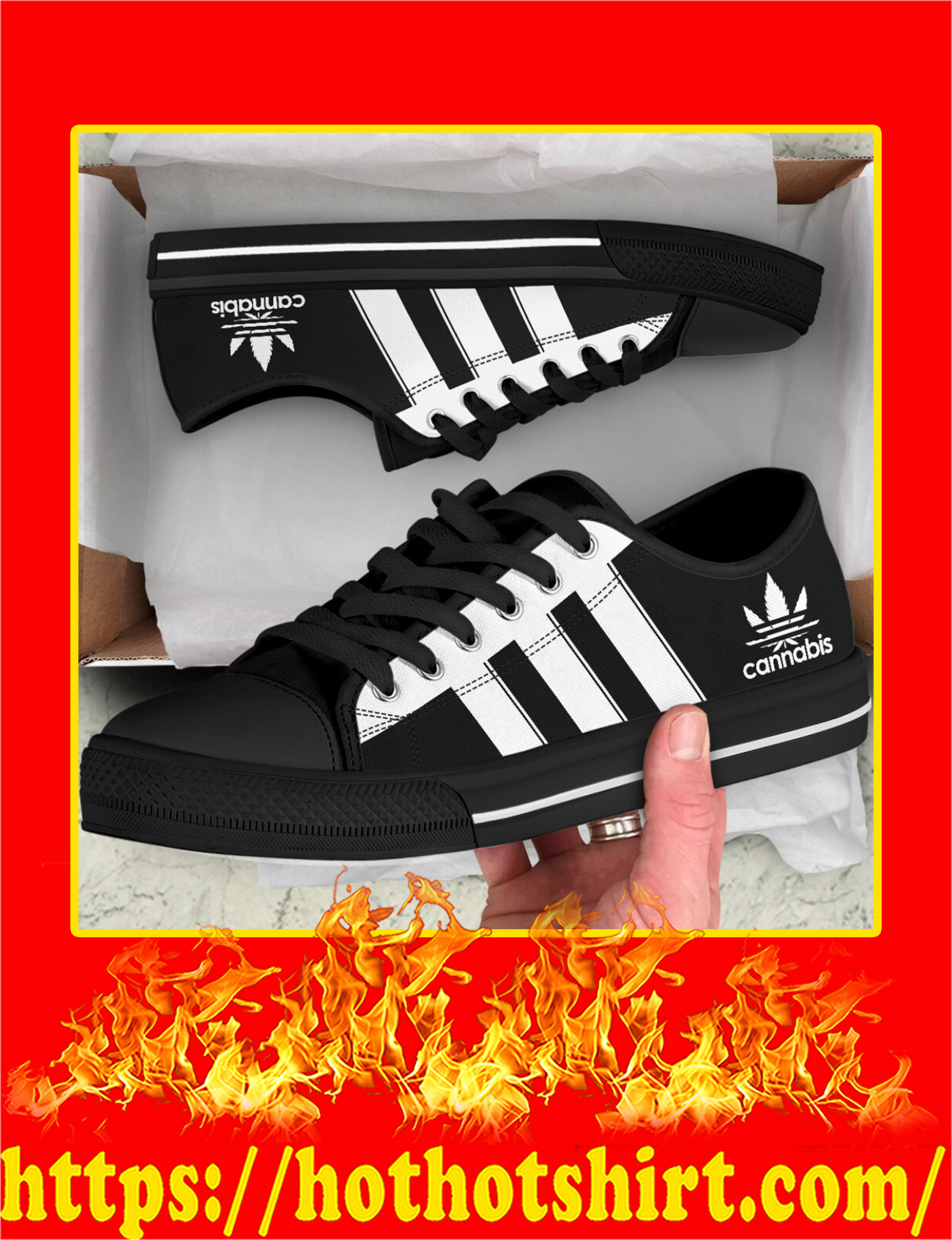 Cannabis Adidas Logo Low Top Shoes - Pic 2