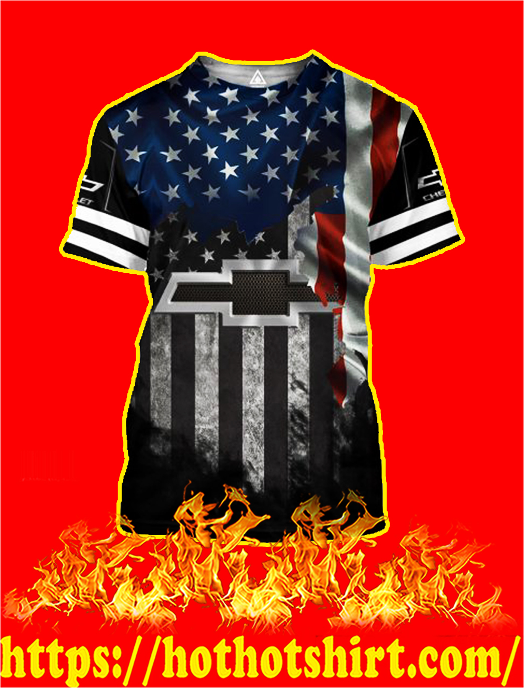 Chevrolet American Flag 3D All Over Printed shirt