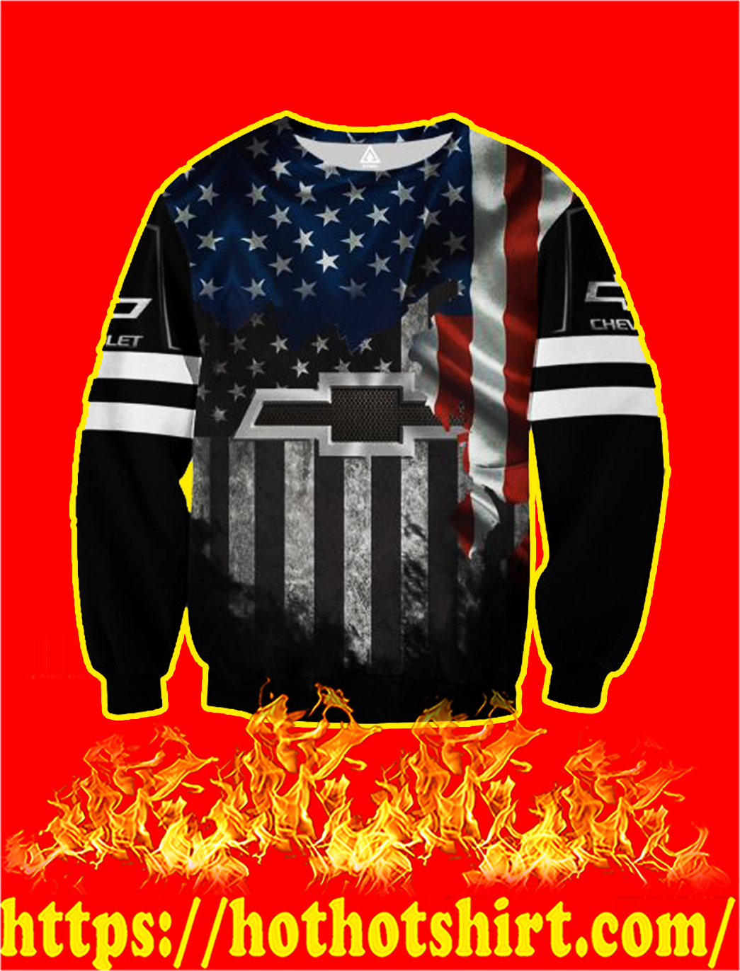 Chevrolet American Flag 3D All Over Printed sweatshirt