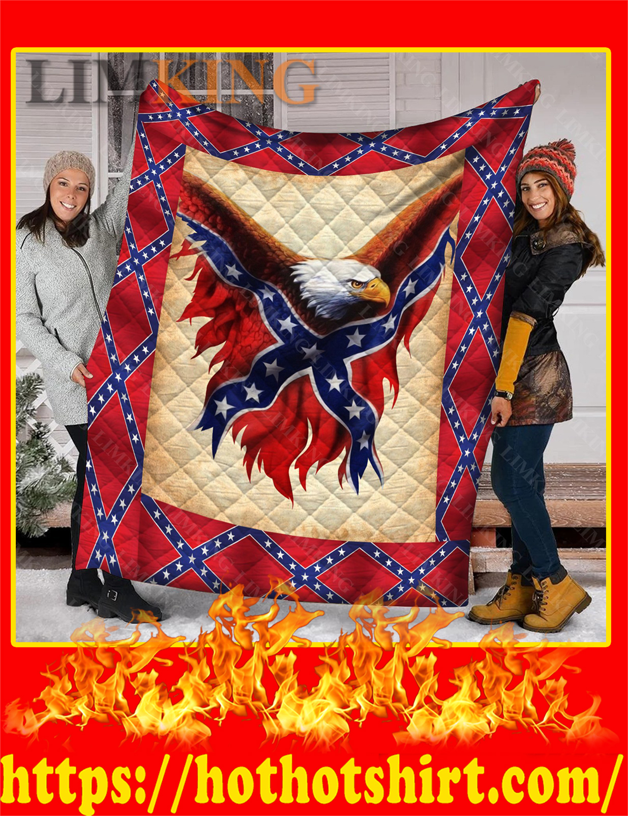 Confederate Flag Eagle Quilt - Twin