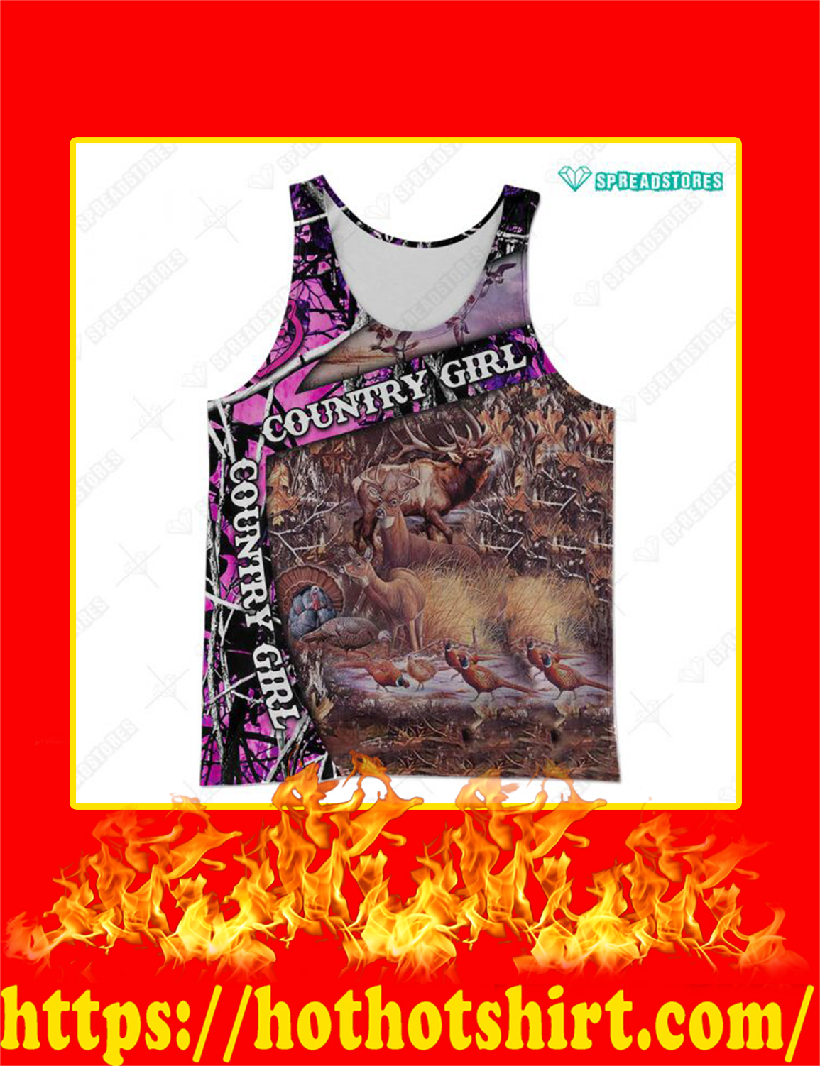 Country Girl Deer Hunter Custom Name Personalize 3d tank top
