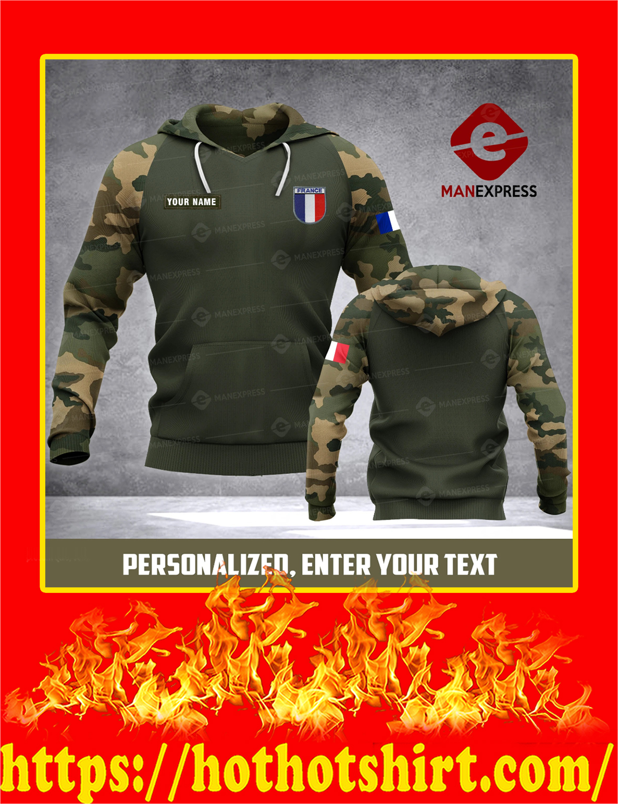 Customize Custom Name Army French All Over Print 3d hoodie - Detail