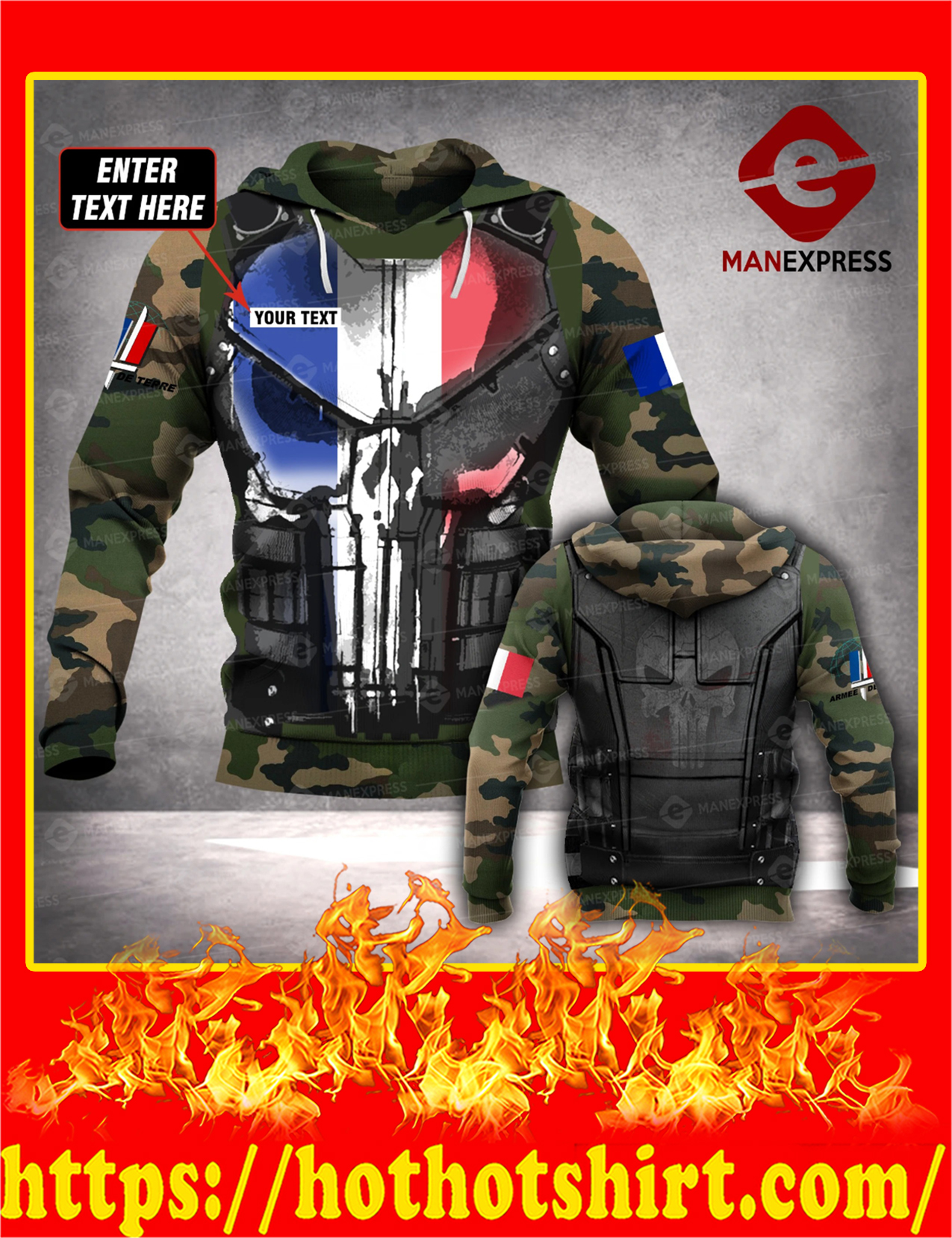 Customize Custom Name French Army 3d All Over Print Hoodie - Detail
