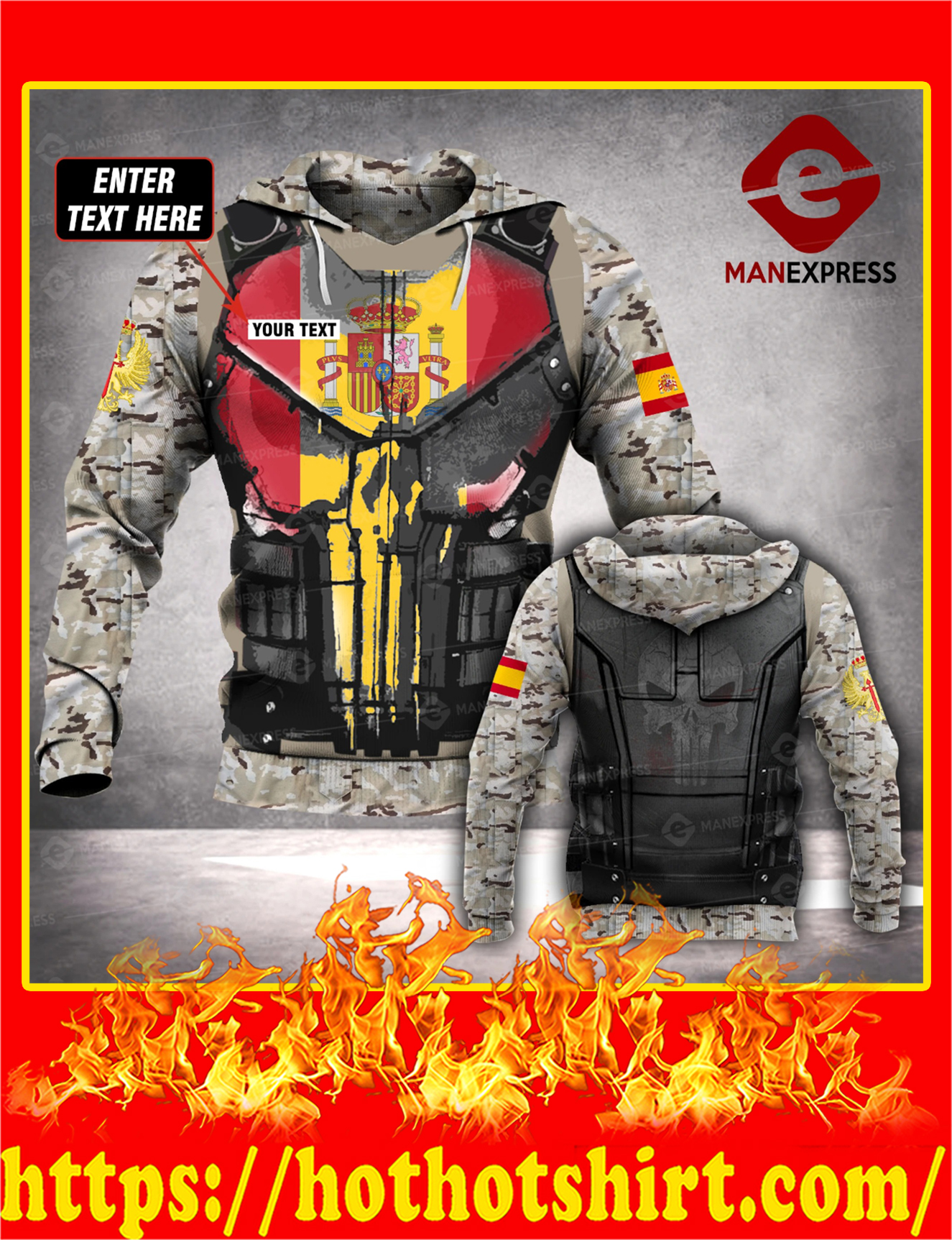 Customize Custom Name Spanish Army 3d All Over Print Hoodie - Detail