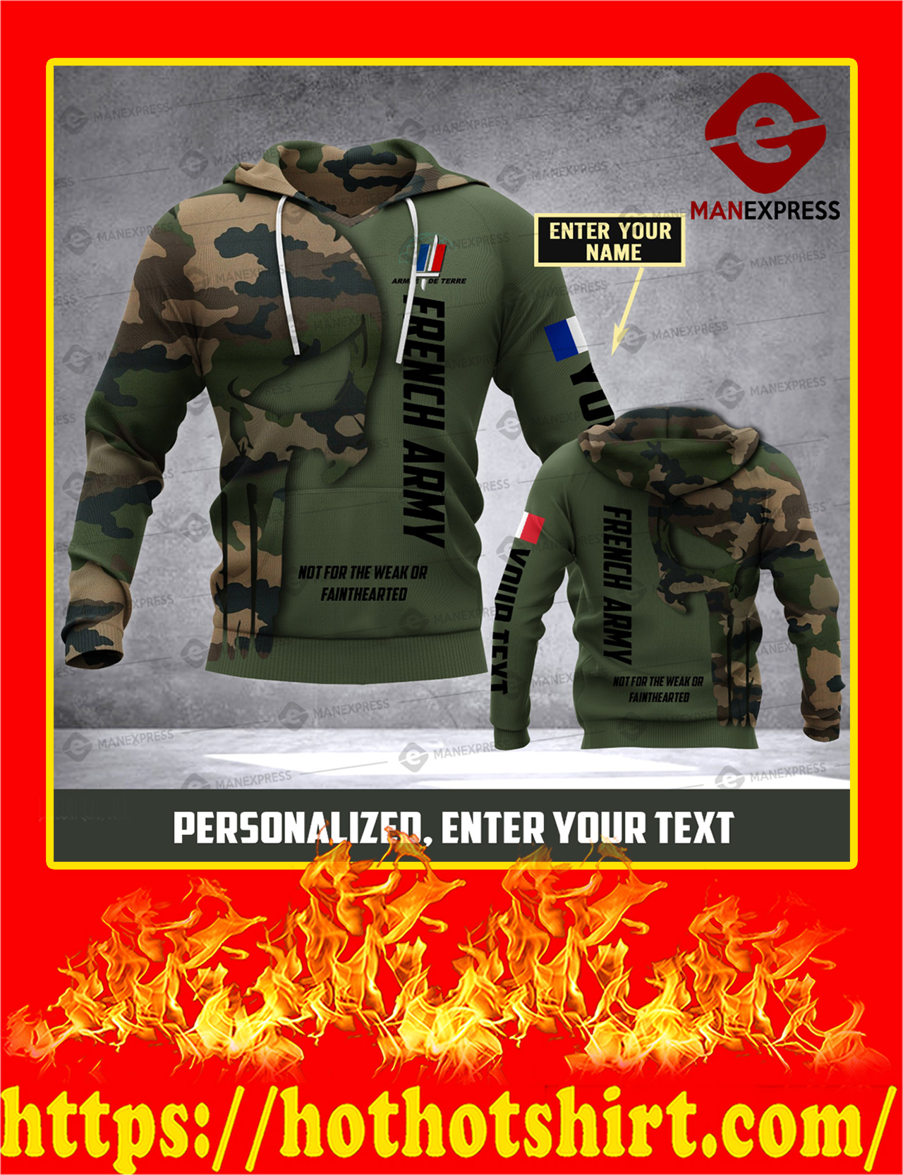 Customize French Army Punisher Skull Camo 3D All Over Print Hoodie - Detail