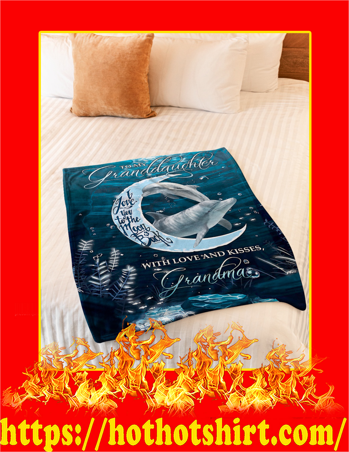 Dolphin To My Granddaughter I Love You To The Moon And Back Blanket - Youth