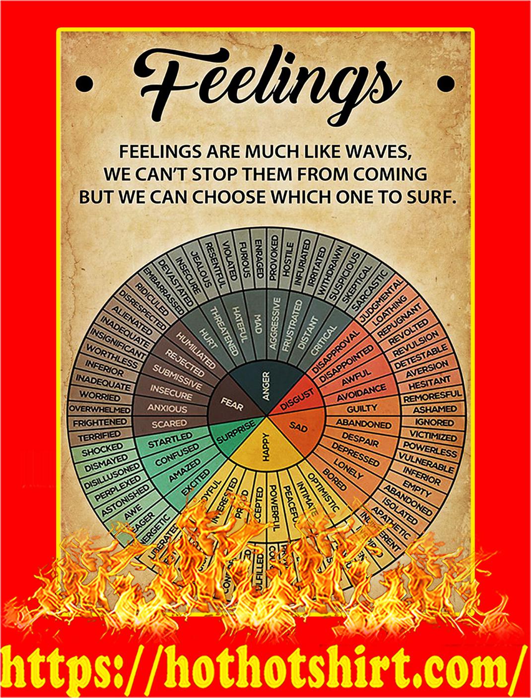 Feelings Wheel Feelings Are Much Like Waves Poster - A2
