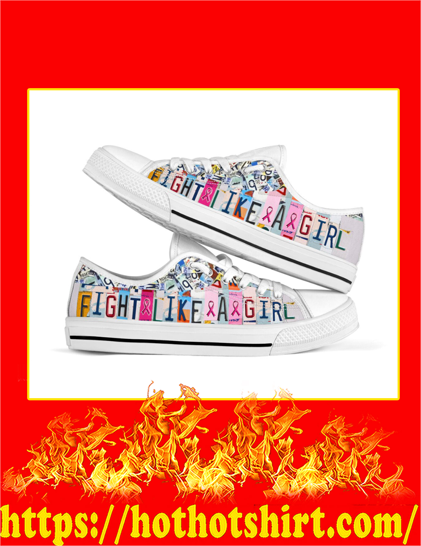 Fight Like A Girl Breast Cancer Low Top Shoes - Pic 1