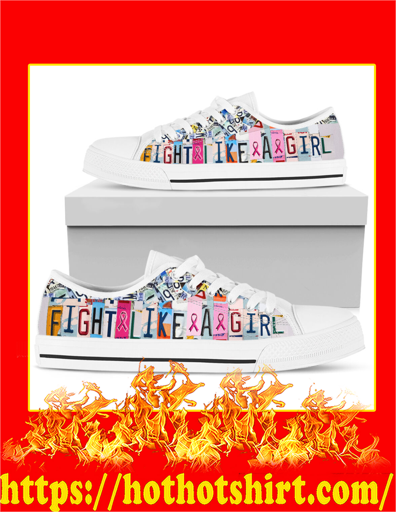 Fight Like A Girl Breast Cancer Low Top Shoes - Pic 2