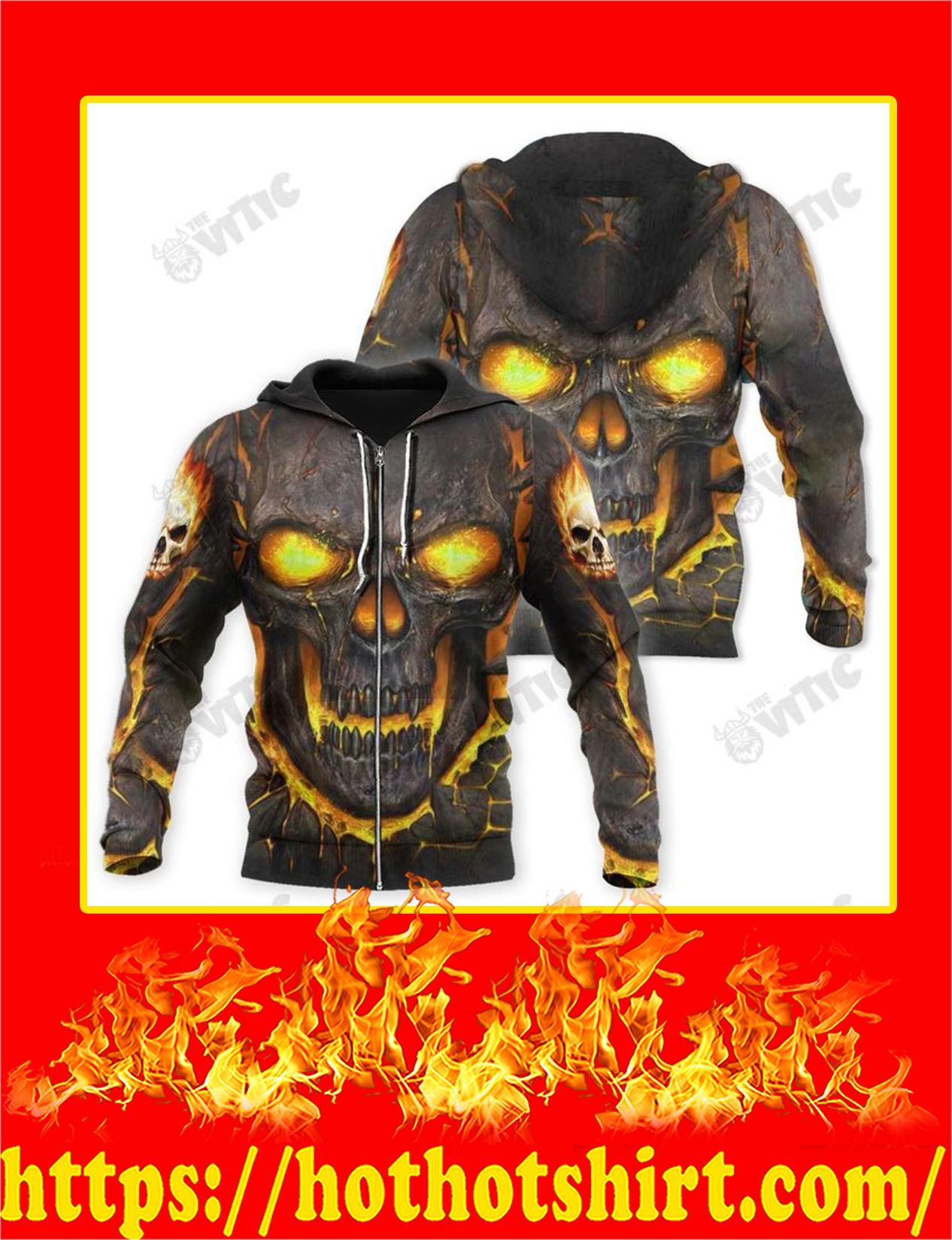 Fire 3d Skull Zip Hoodie