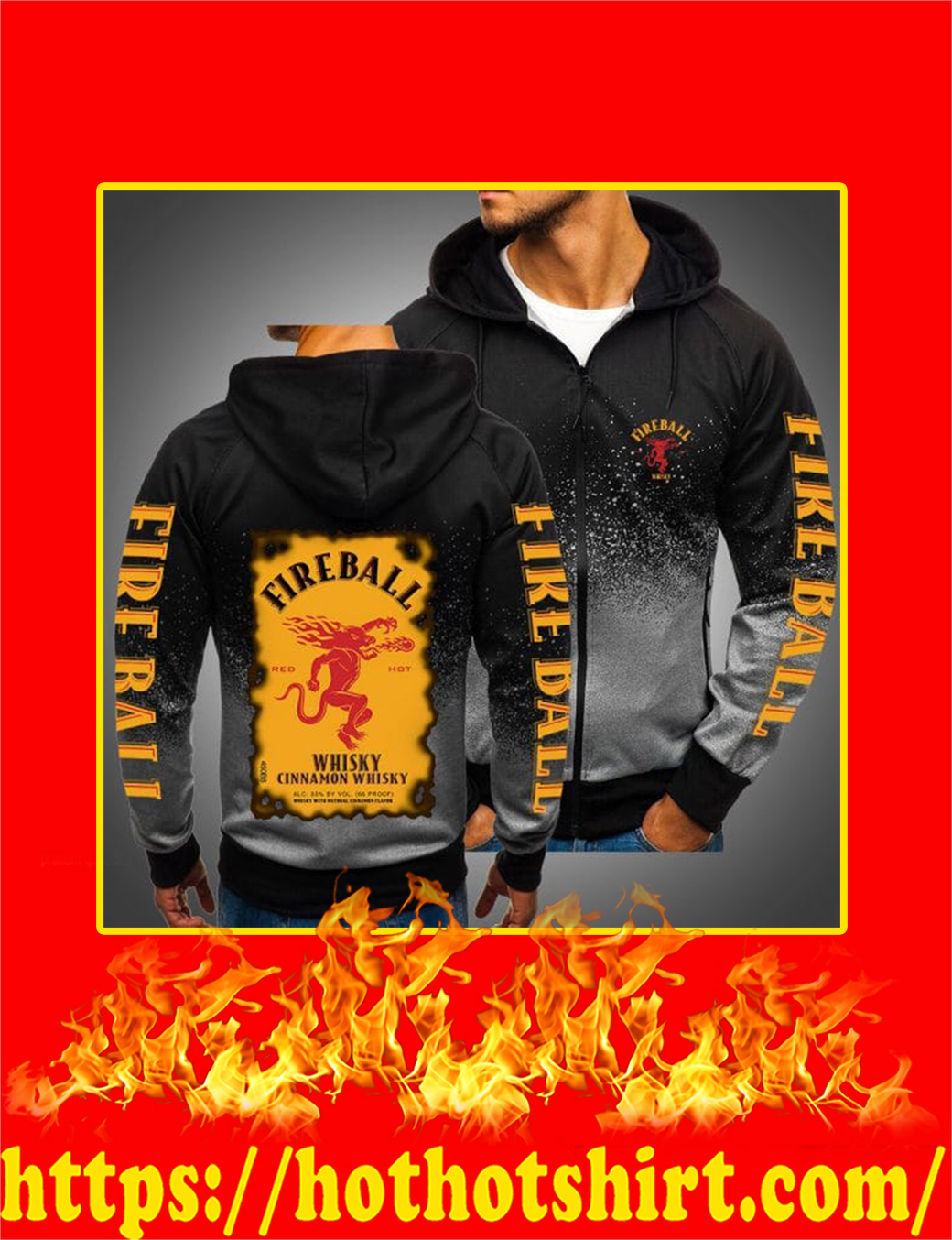 Fireball Cinnamon Whisky 3D Gradient Hoodie- black