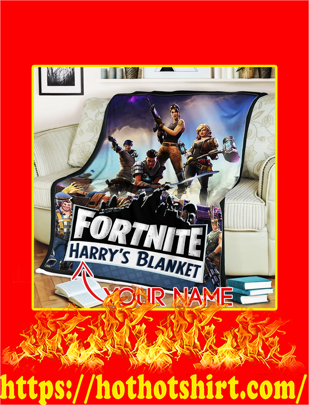 Fortnite Gaming Custom Name Personalize Blanket - large