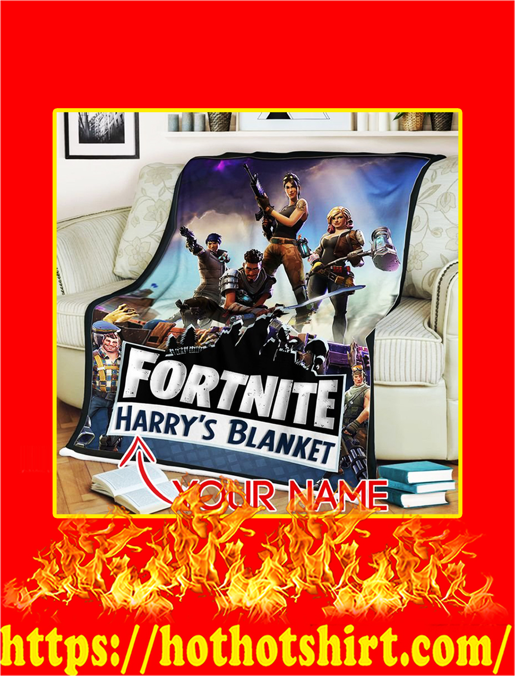 Fortnite Gaming Custom Name Personalize Blanket - medium