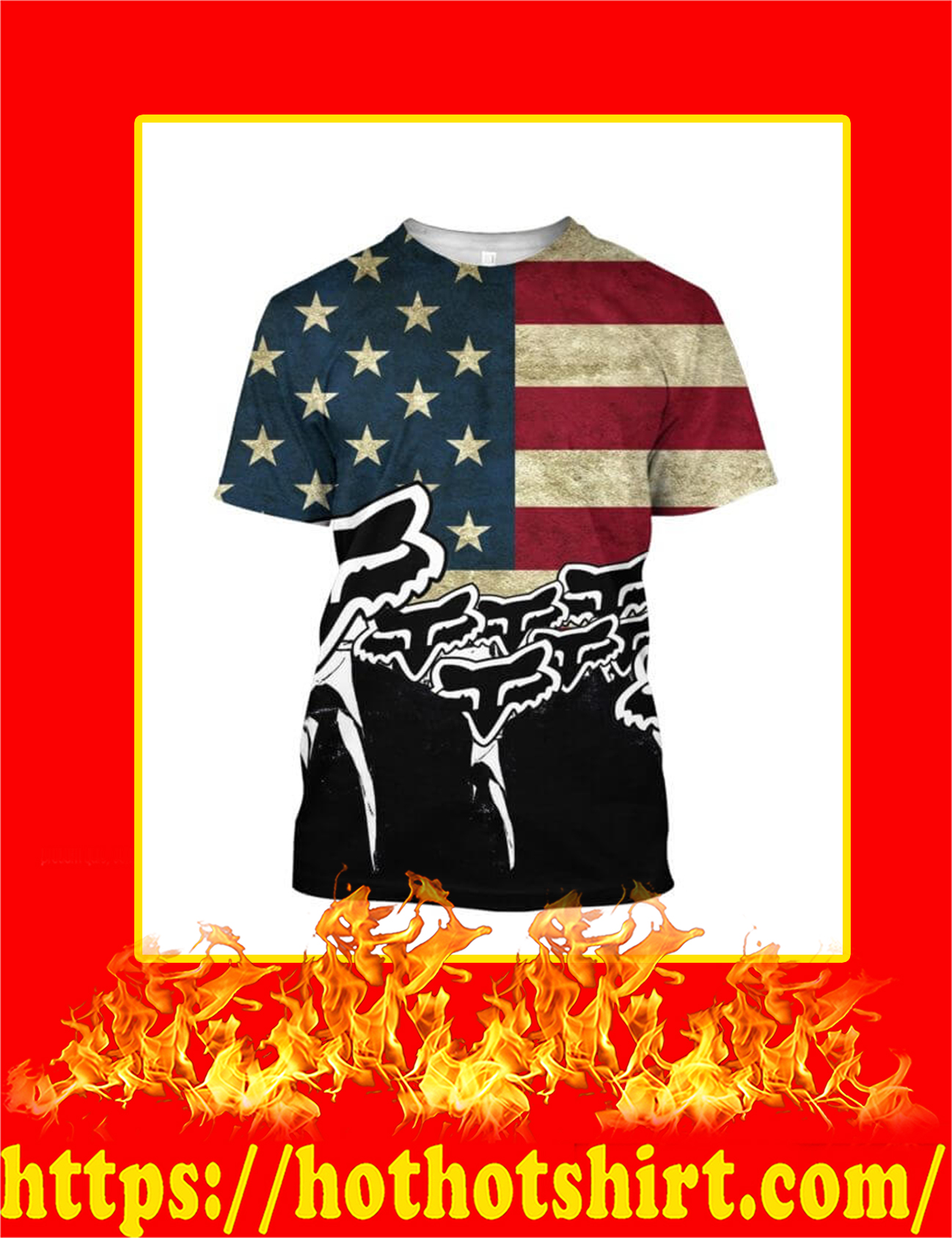 Fox Racing Logo American Flag 3d T-Shirt