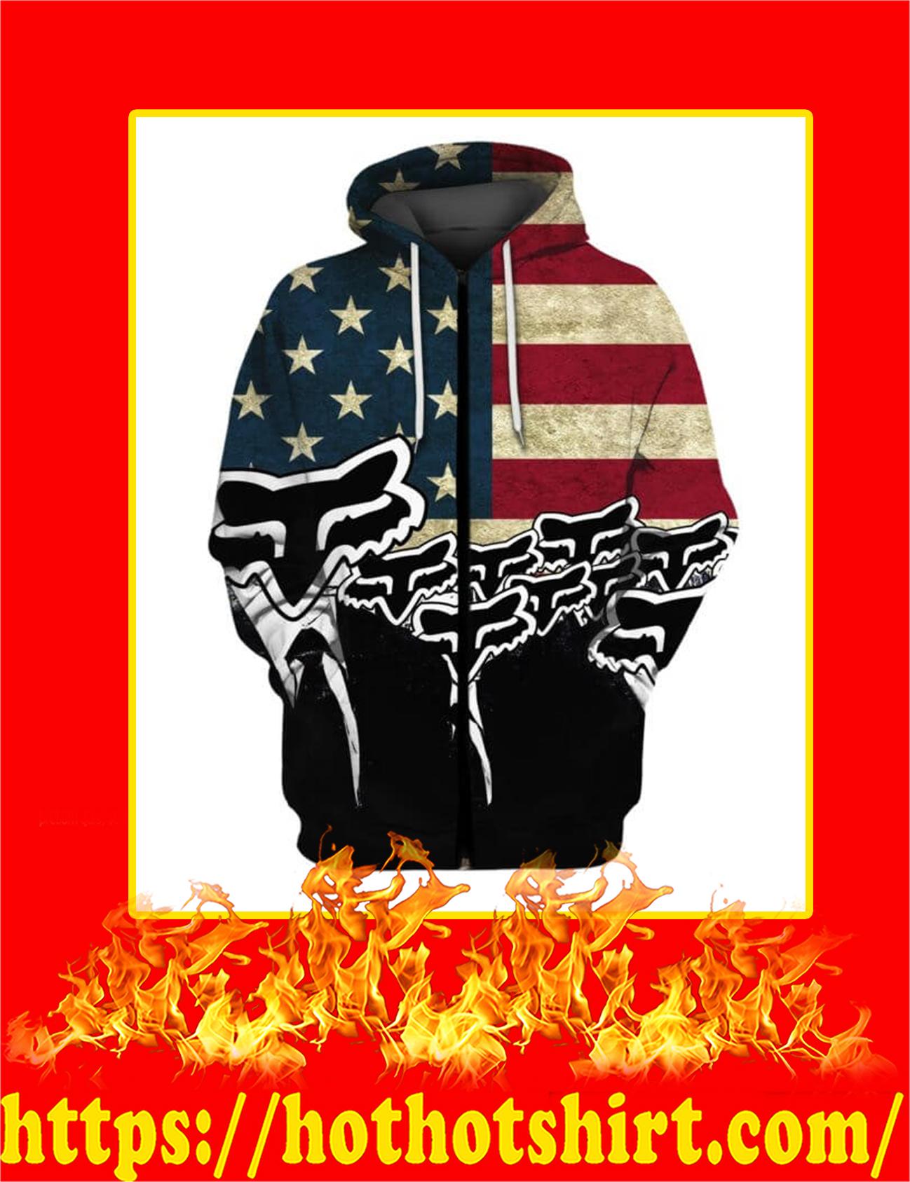 Fox Racing Logo American Flag 3d Zip Hoodie
