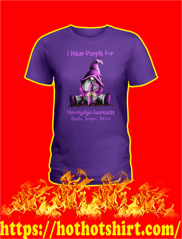 Gnome Fibromyalgia Awareness I Wear Purple lady shirt