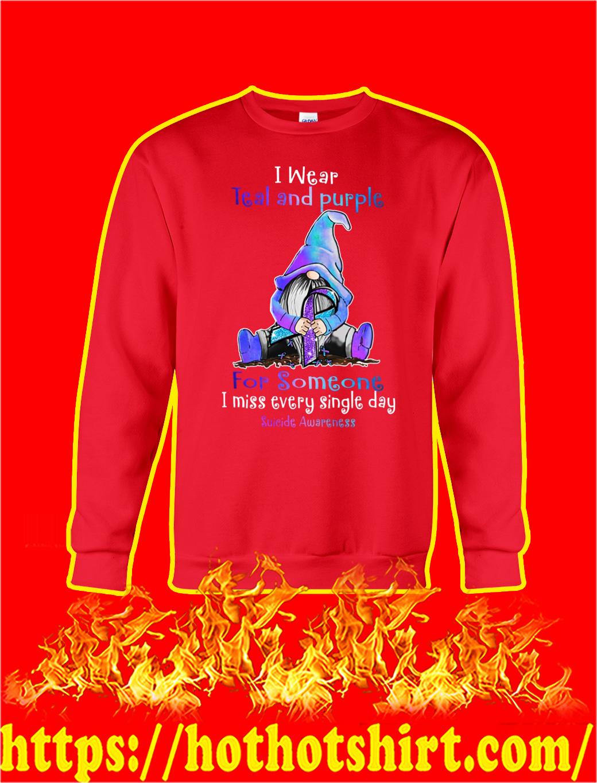 Gnome Suicide Awareness I Wear Teal And Purple sweatshirt