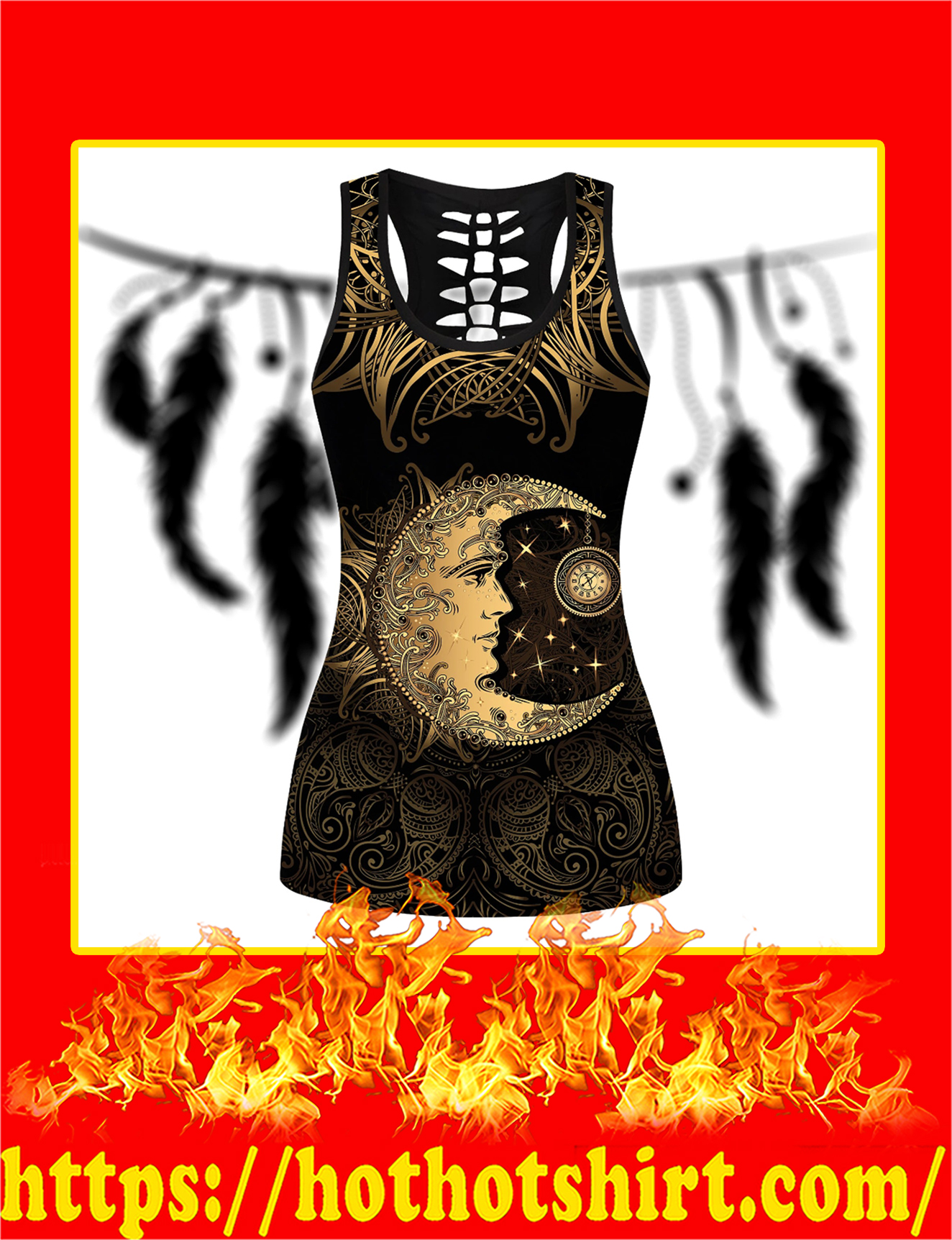 Golden Crescent Moon And Sun With Elements Of The Mandala Hollow Tank Top 3D - Detail