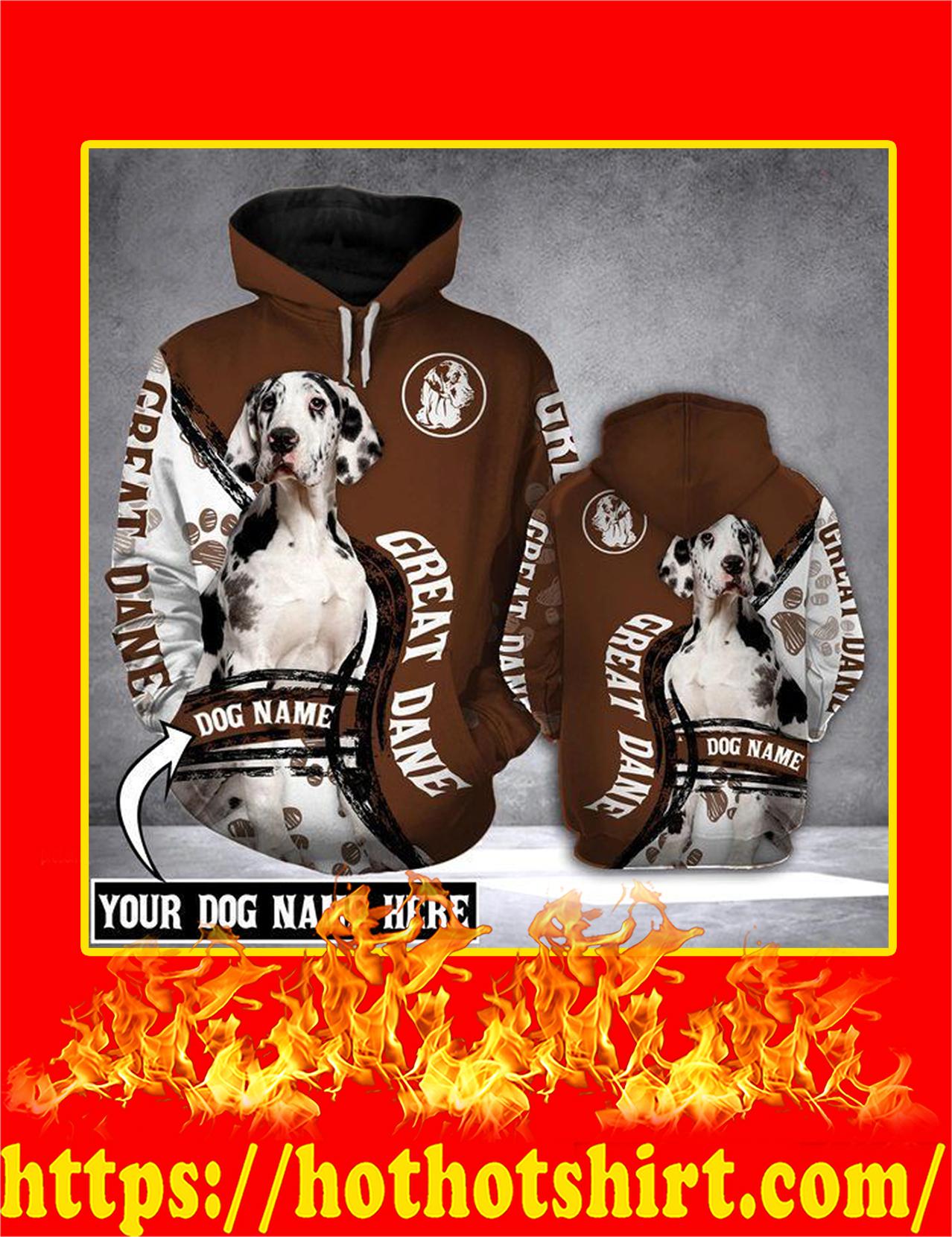 Great Dane Dog Customize Custom Name 3d Hoodie - Detail