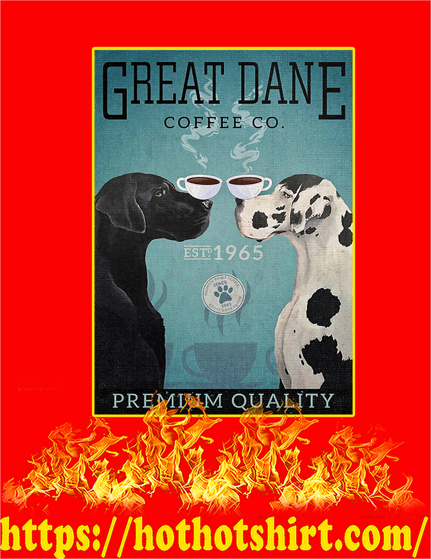 Great dane dog coffee company poster - A3
