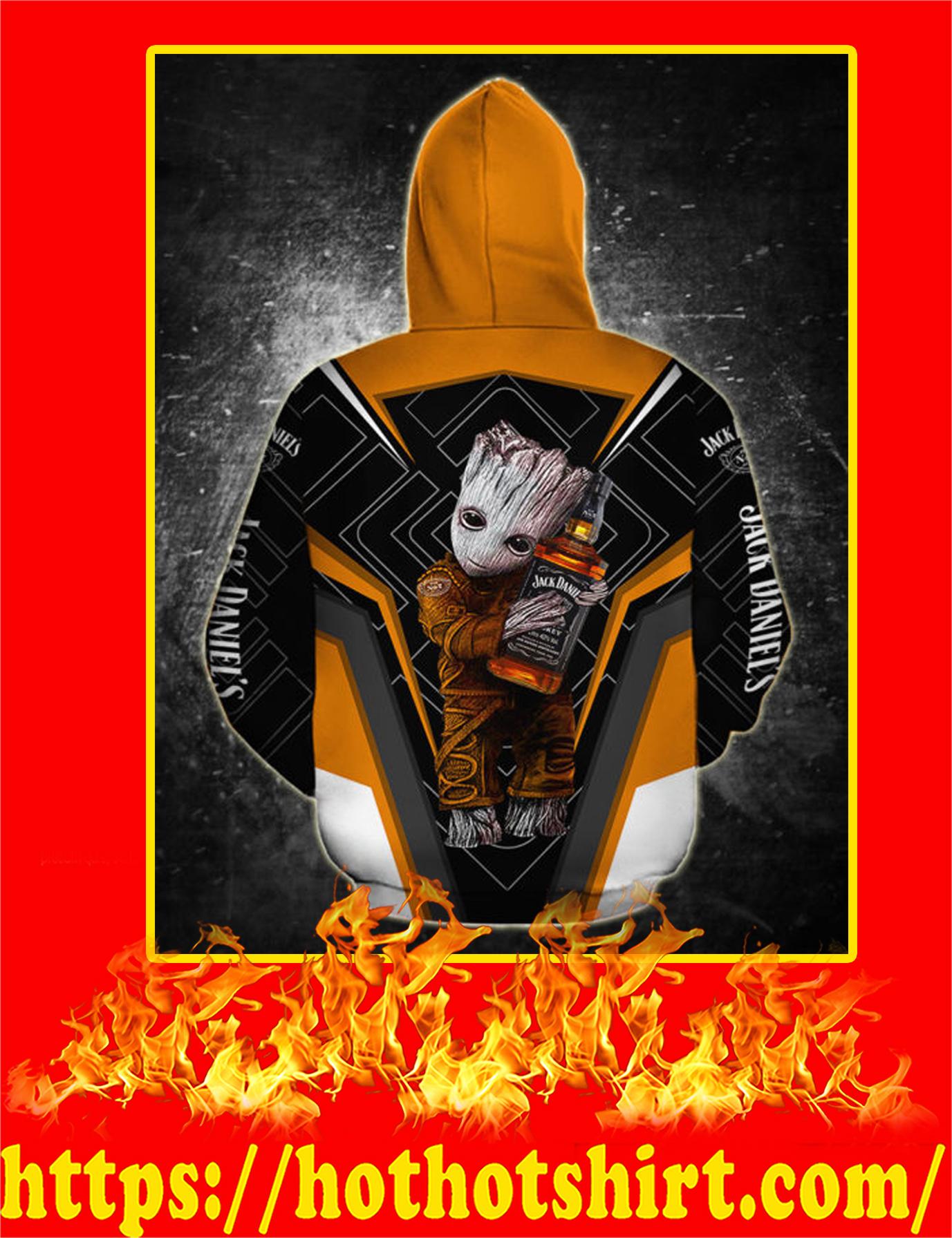 Groot Hug Jack Daniels All Over Printed 3D hoodie - Back