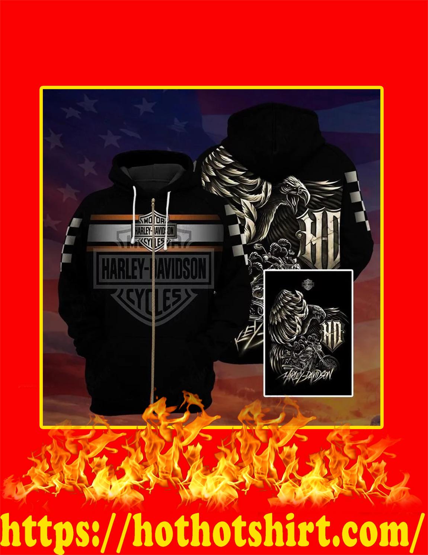 Harley Davidson Logo Eagle 3D zip hoodie