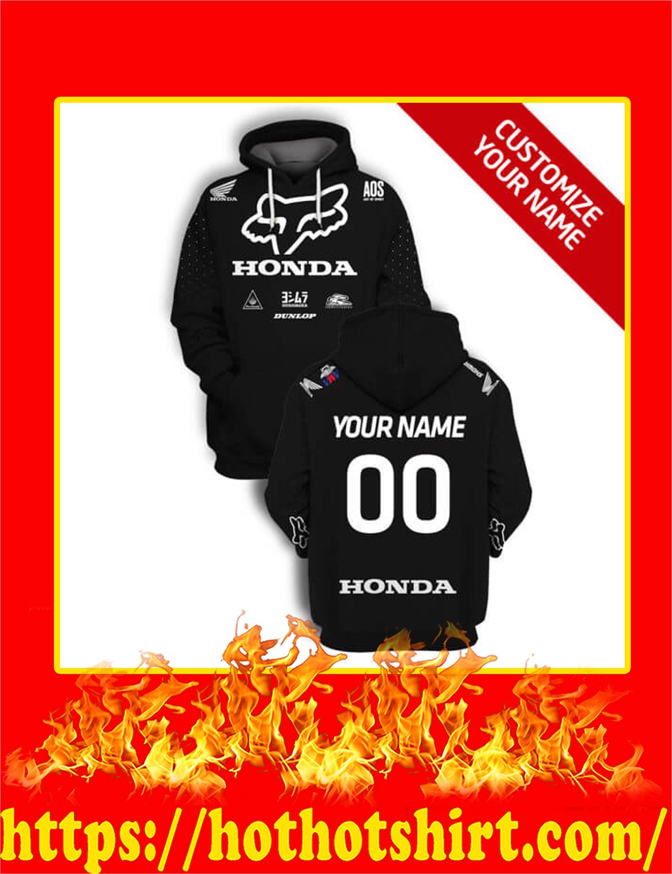 Honda Fox Racing Custom Name Number 3D Hoodie