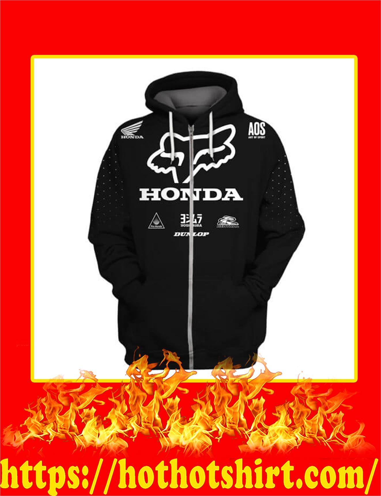Honda Fox Racing Custom Name Number 3D Zip Hoodie